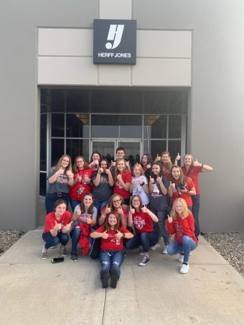 The St. Clair Yearbook Staff had the unique opportunity to visit the Herff Jones Plant in Edwardsville, KS Sept. 23. This was the first time that students from St. Clair High School were able to visit the plant and to see how the book was manufactured. The students were very excited to see how much passion was put into each step of the editing process. It helped in the understanding of why we have such strict deadlines and that many things happen after we submit pages to the plant.